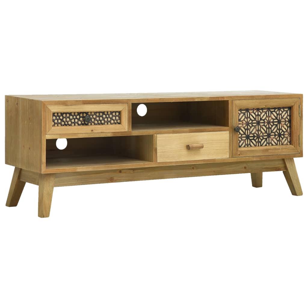 vidaXL TV-bänk med sniderier brun 120x30x42 cm trä