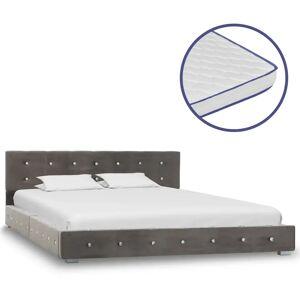 vidaXL Säng med memoryskummadrass grå sammet 140x200 cm
