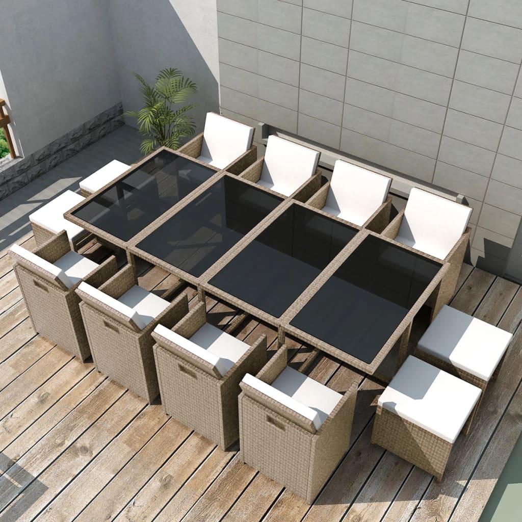 vidaXL Matgrupp för trädgården med dynor 13 delar konstrotting beige
