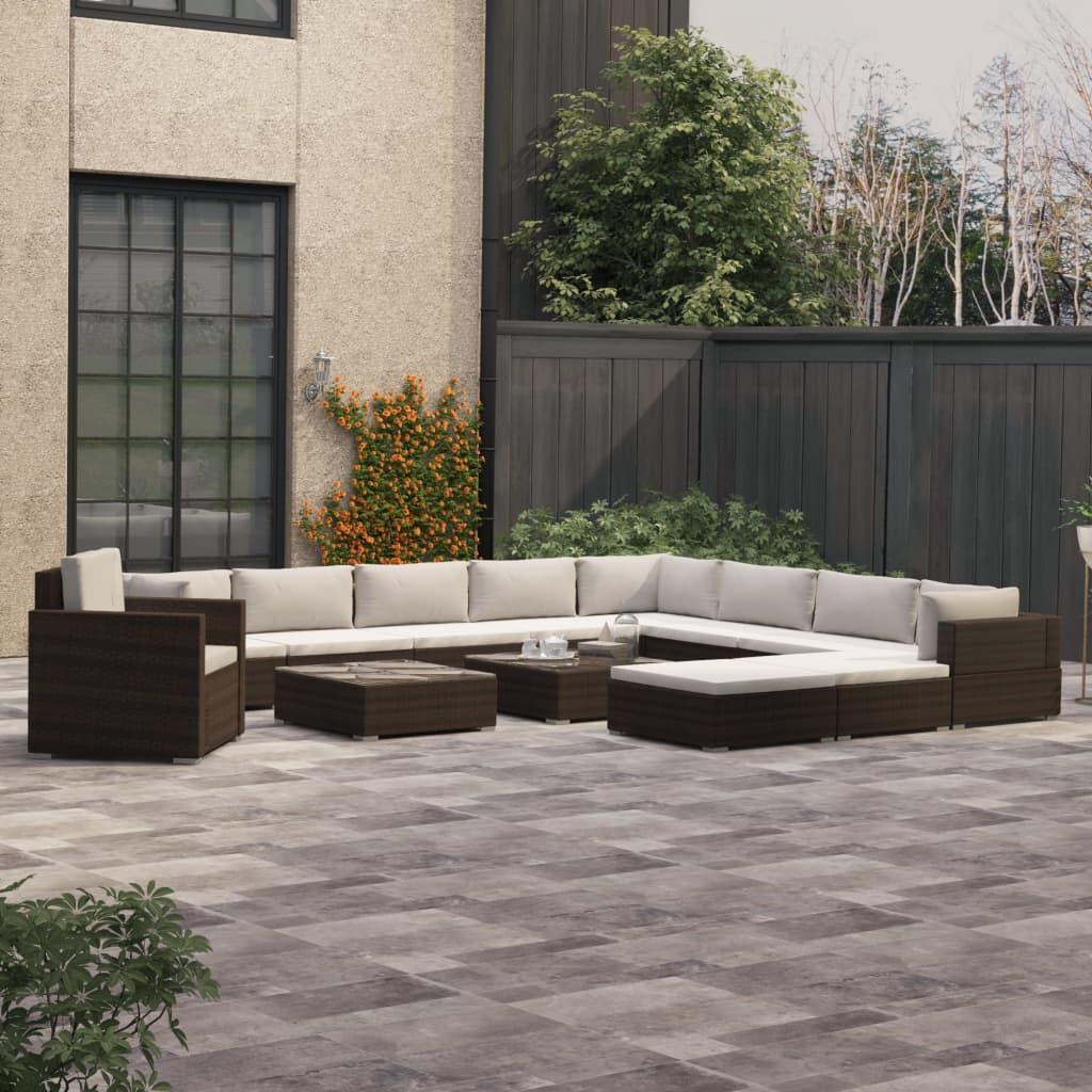 vidaXL Loungegrupp för trädgården med dynor 13 delar konstrotting brun