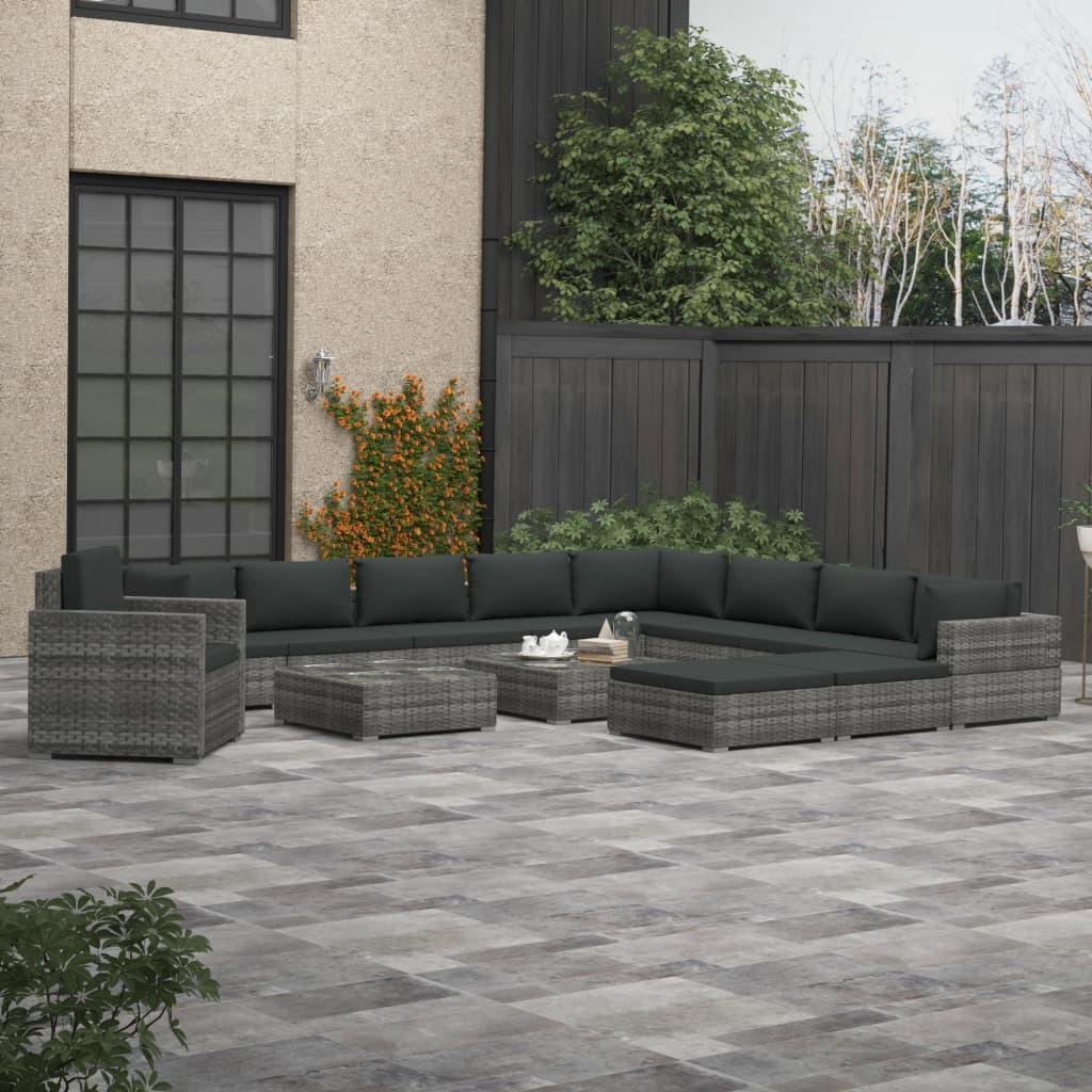 vidaXL Soffgrupp för trädgården 13 delar med dynor konstrotting grå