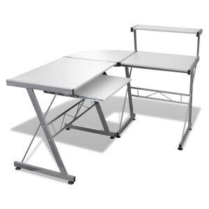 vidaXL Datorskrivbord med utdragbar hylla för tangentbord L-formad vit