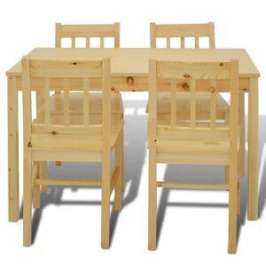 vidaXL Matbord trä med 4 stolar naturligt