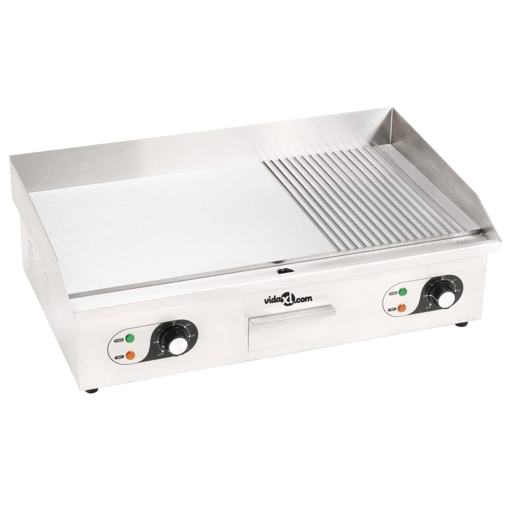 vidaXL Elektriskt stekbord rostfritt stål 4400 W 73x51x23 cm