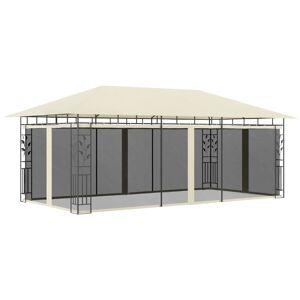 vidaXL Paviljong med myggnät 6x3x2,73 m gräddvit