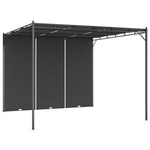 vidaXL Trädgårdspaviljong med draperier 3x3x2,25 m antracit