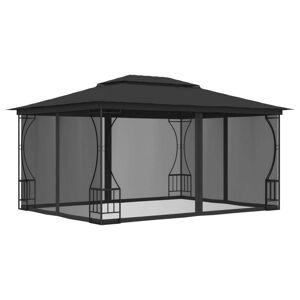 vidaXL Paviljong med draperier 300x400x265 cm antracit