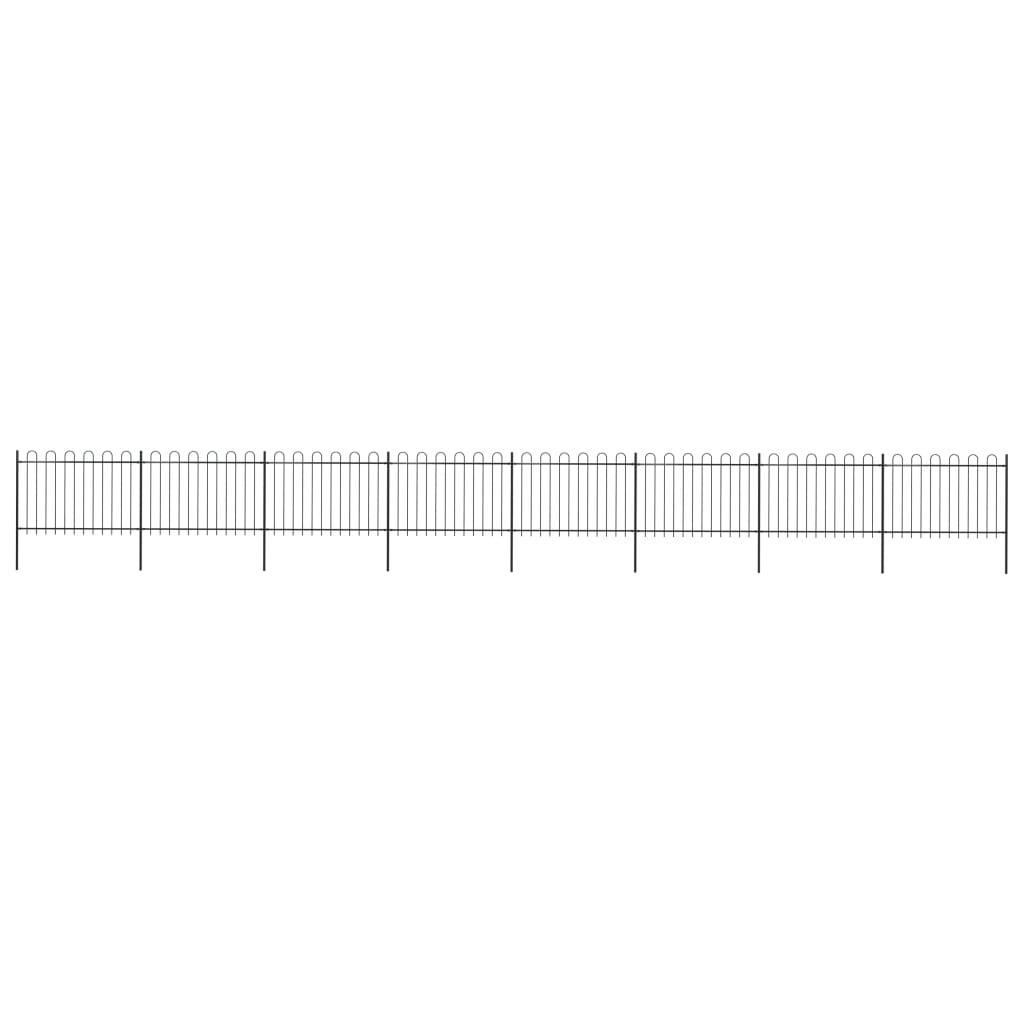vidaXL Trädgårdsstaket med böjd topp stål 13,6x1,2 m svart