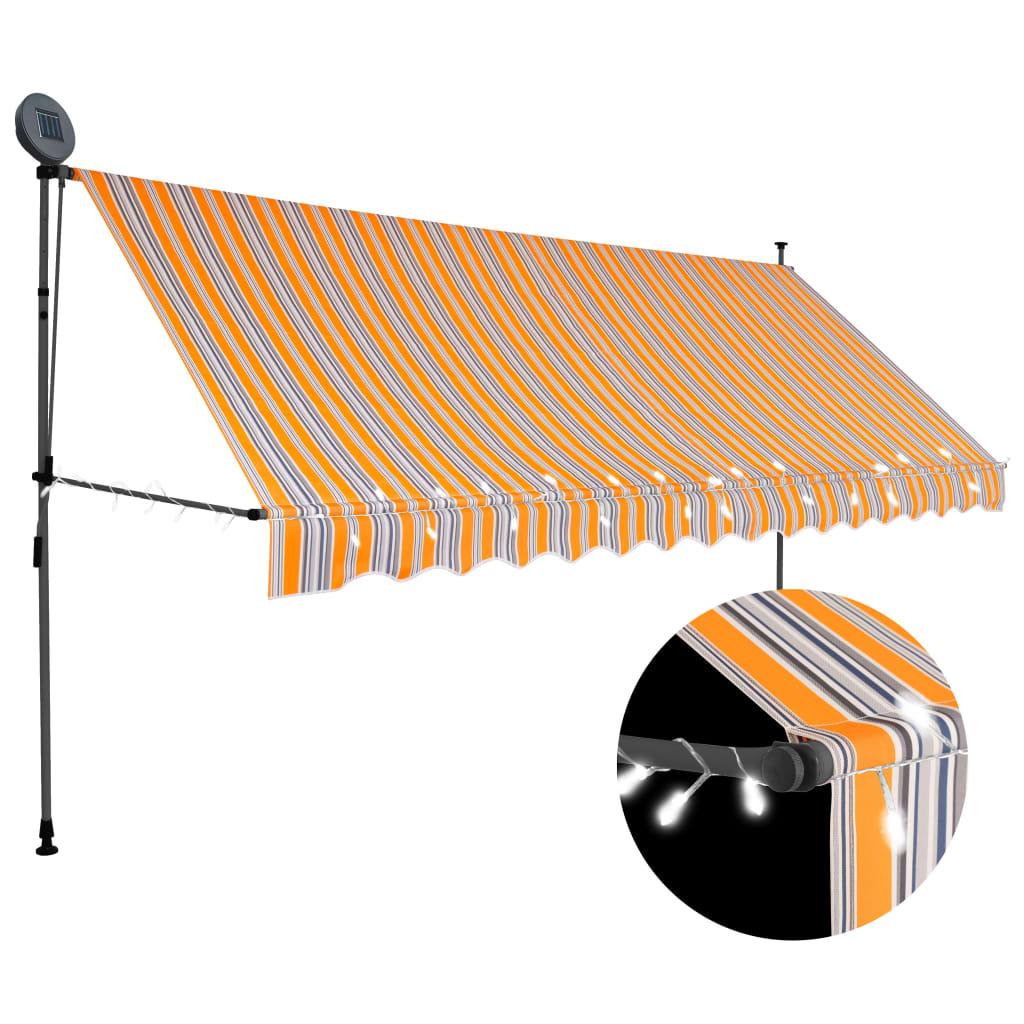 vidaXL Markis manuellt infällbar med LED 400 cm gul och blå
