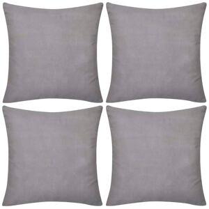 vidaXL 4 Kuddöverdrag i bomull gråa 50 x 50 cm