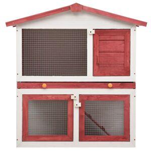 vidaXL Utebur för smådjur 3 dörrar röd trä