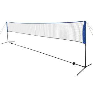 vidaXL Badmintonnät med badmintonbollar 600x155 cm