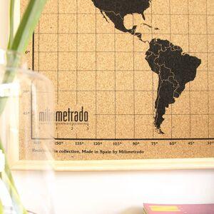 milimetrado Anslagstavla världskarta med träram svart & brun 70x50 cm