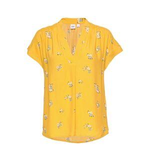GAP Short Sleeve Popover Top Blouses Short-sleeved Gul GAP