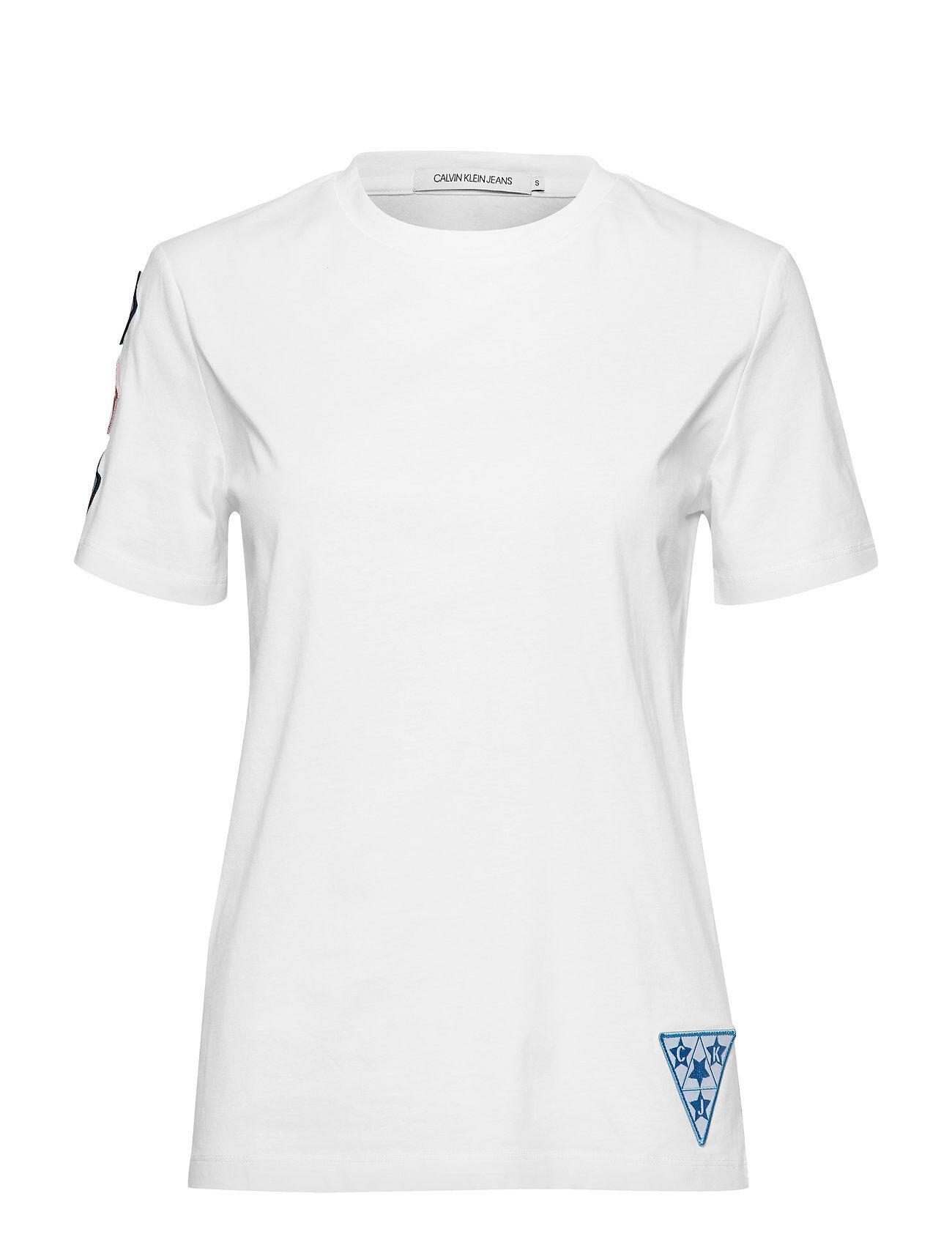 Calvin Badge Tee T-shirts & Tops Short-sleeved Vit Calvin Klein Jeans