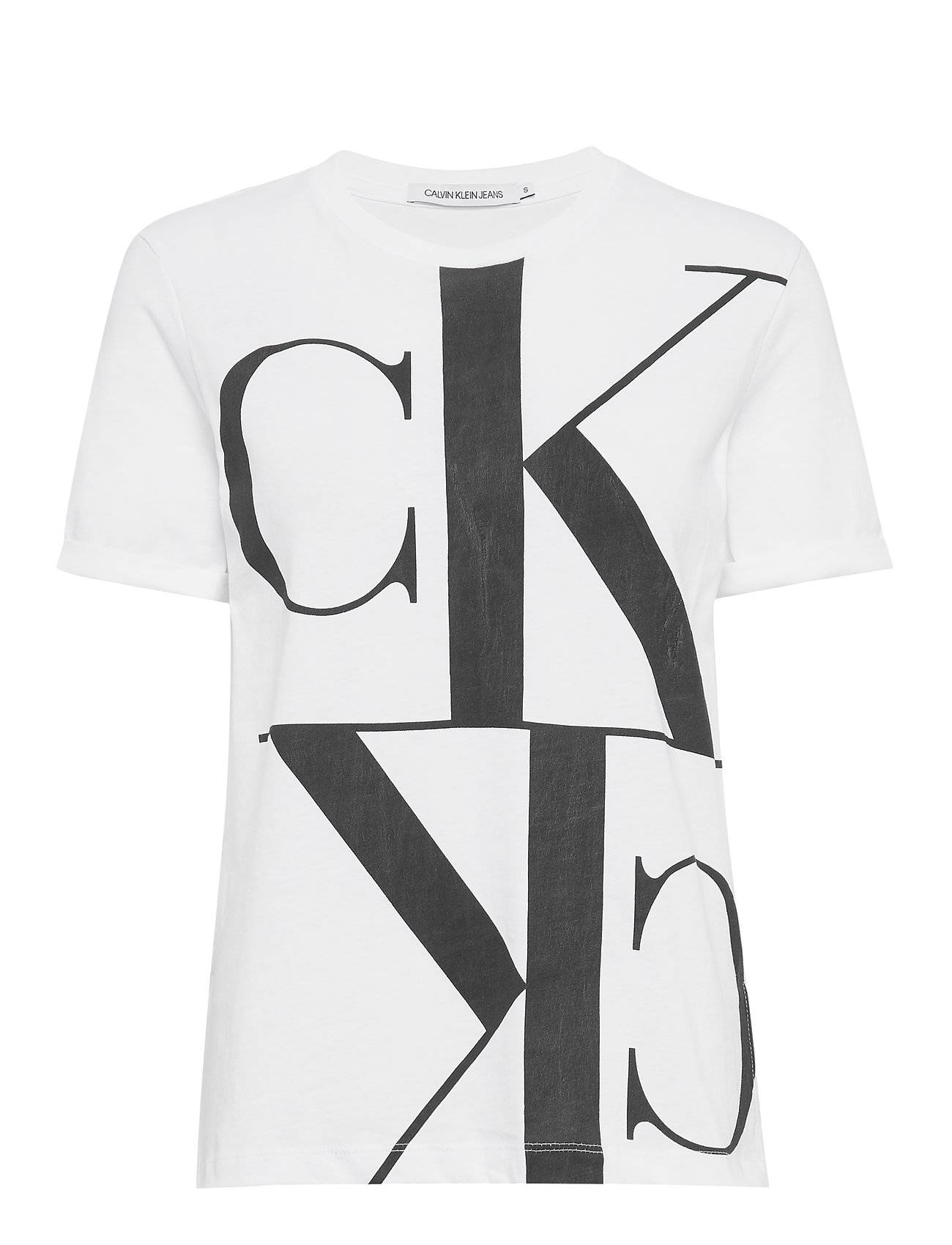 Calvin Mirrored Monogram Straight Tee T-shirts & Tops Short-sleeved Vit Calvin Klein Jeans