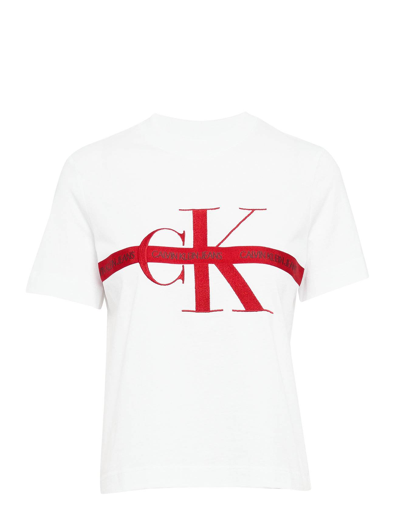 Calvin Taping Through Monogram Tee T-shirts & Tops Short-sleeved Vit Calvin Klein Jeans