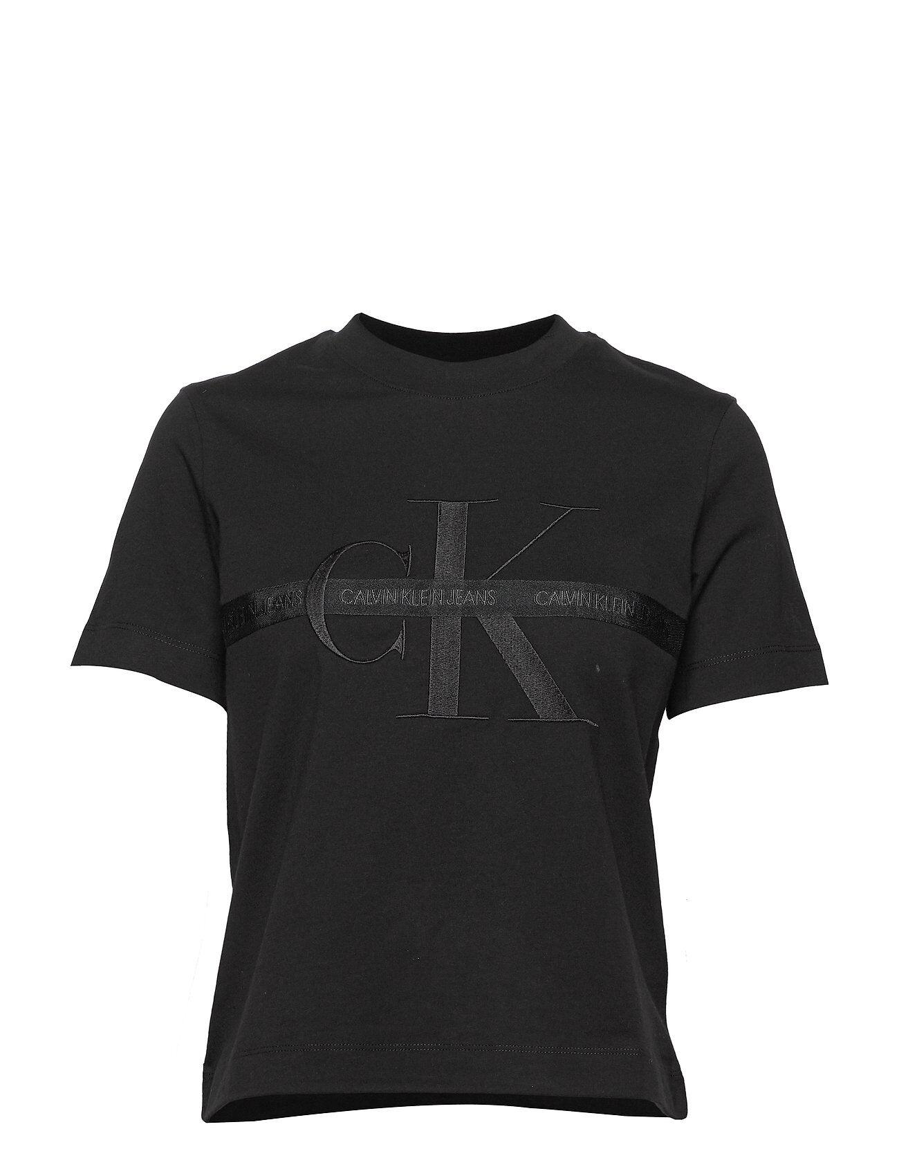 Calvin Taping Through Monogram Tee T-shirts & Tops Short-sleeved Svart Calvin Klein Jeans