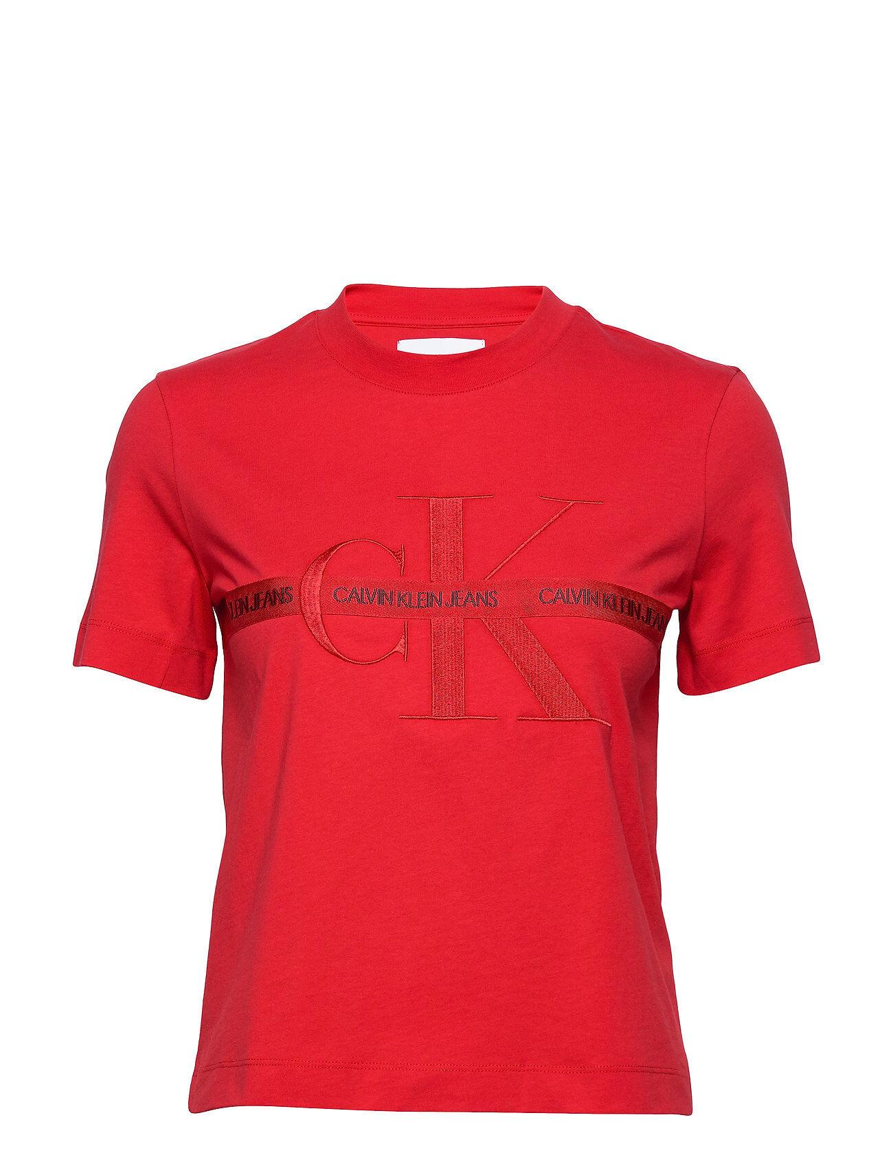Calvin Taping Through Monogram Tee T-shirts & Tops Short-sleeved Röd Calvin Klein Jeans