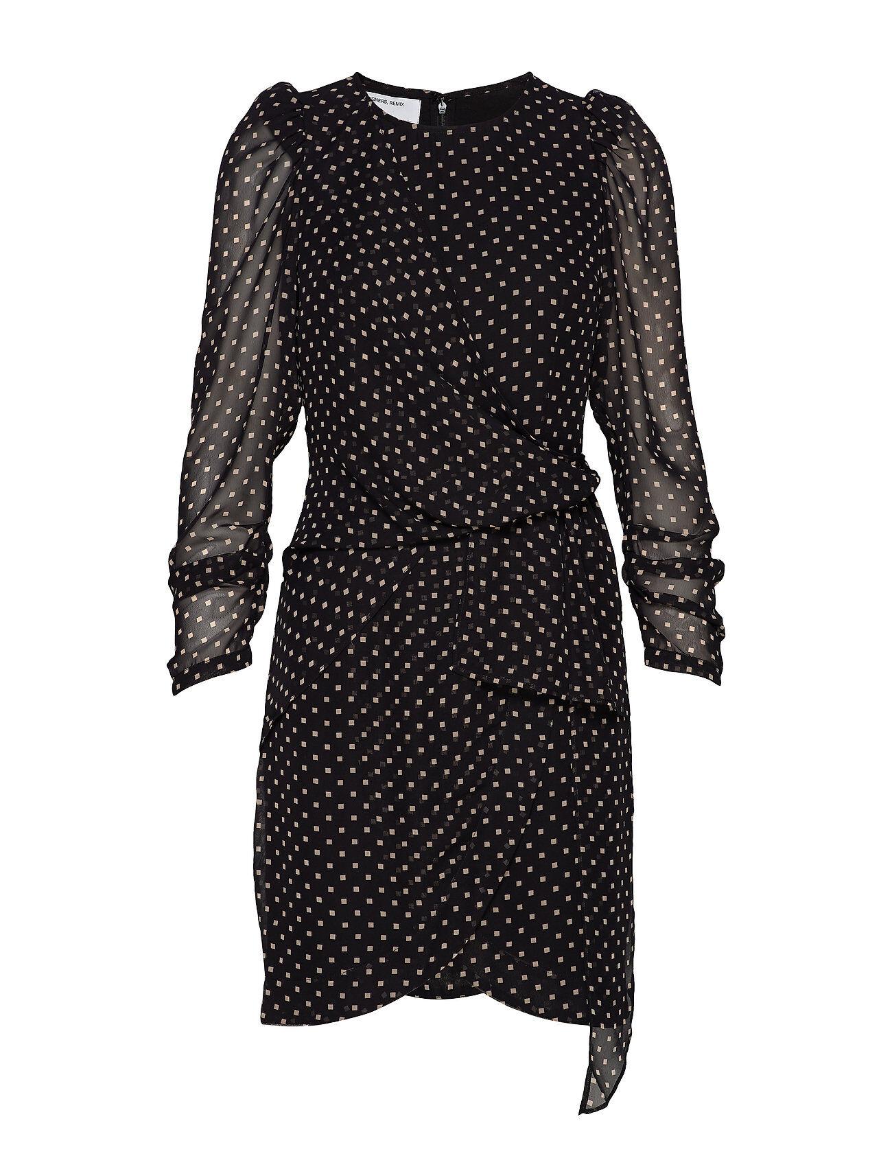 DESIGNERS, REMIX Short Draped Dress With Puff Sleeves Kort Klänning Svart DESIGNERS, REMIX