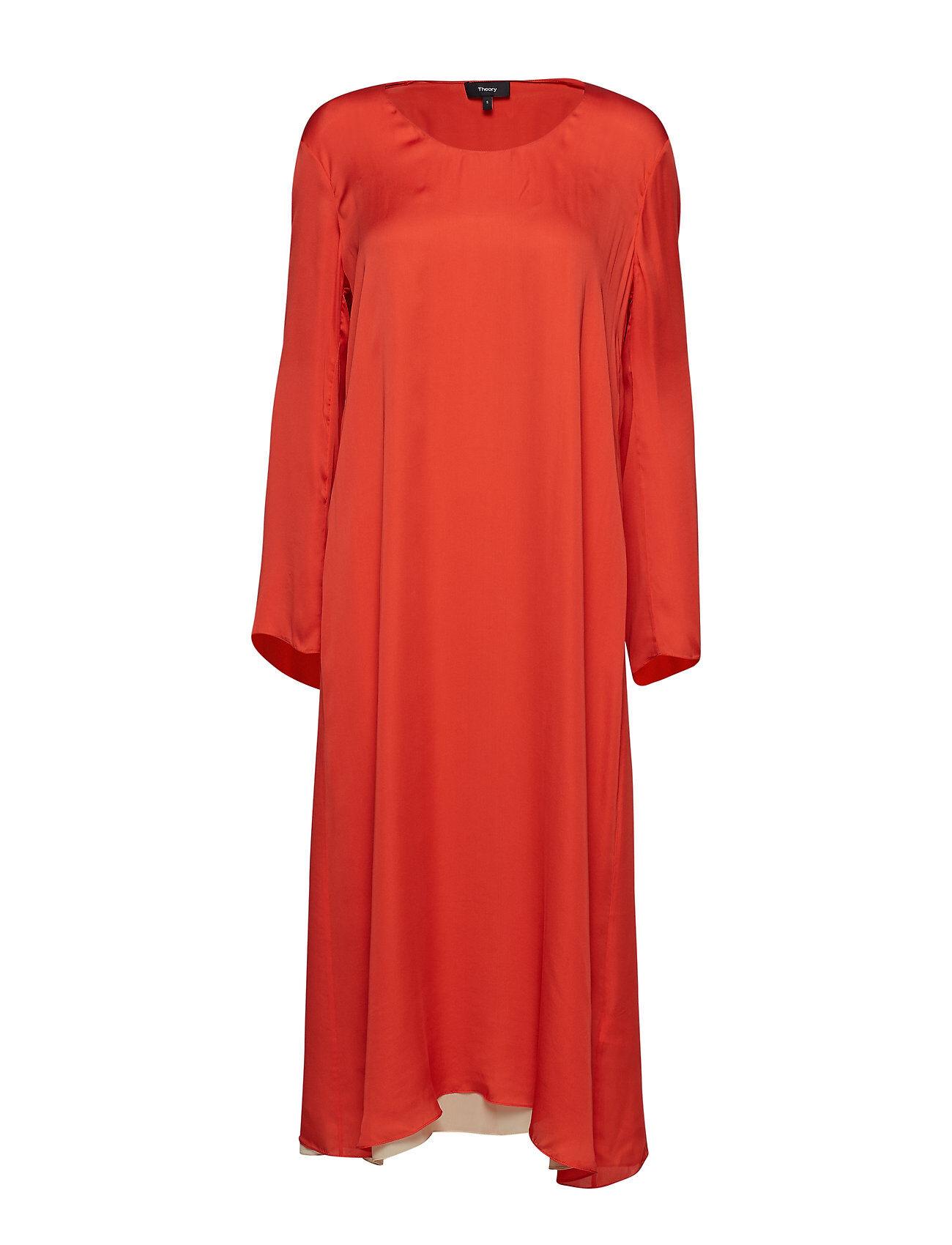 Theory Fluid Midi Dress.Lig Knälång Klänning Orange Theory