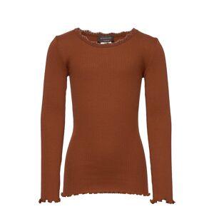 Rosemunde Kids Silk T-Shirt Regular Ls W/ Lace T-shirts Long-sleeved T-shirts Brun Rosemunde Kids