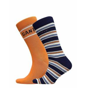 Gant D1. Stripe And Logo Sock Giftbox Underwear Socks Regular Socks Orange Gant