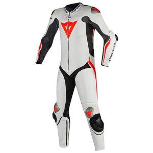Dainese Mugello R D-Air Ett stycke motorcykel Airbag läder kostym Svart Vit Röd 48