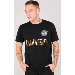 Alpha Industries NASA Reflective T-Shirt Svart Guld M