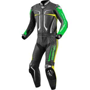 Berik Flumatic Evo Två delad motorcykel läder kostym Svart Grön Gul 60