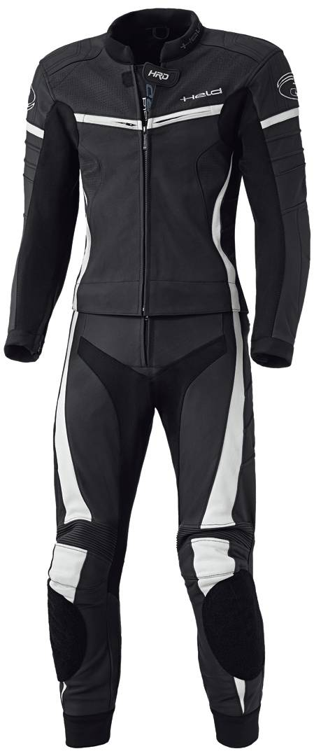 Held Spire Två stycke motorcykel läder kostym Svart Vit 2XL 52