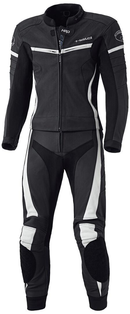 Held Spire Två stycke motorcykel läder kostym Svart Vit 2XL