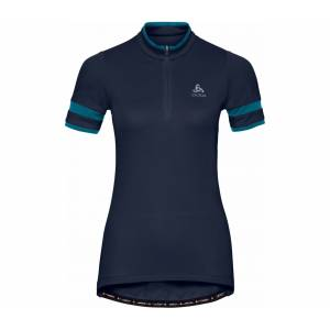 ODLO Stand-Up Collar Half-Zip Breeze Shortsleeve Dam Cykel-jerseytröja L
