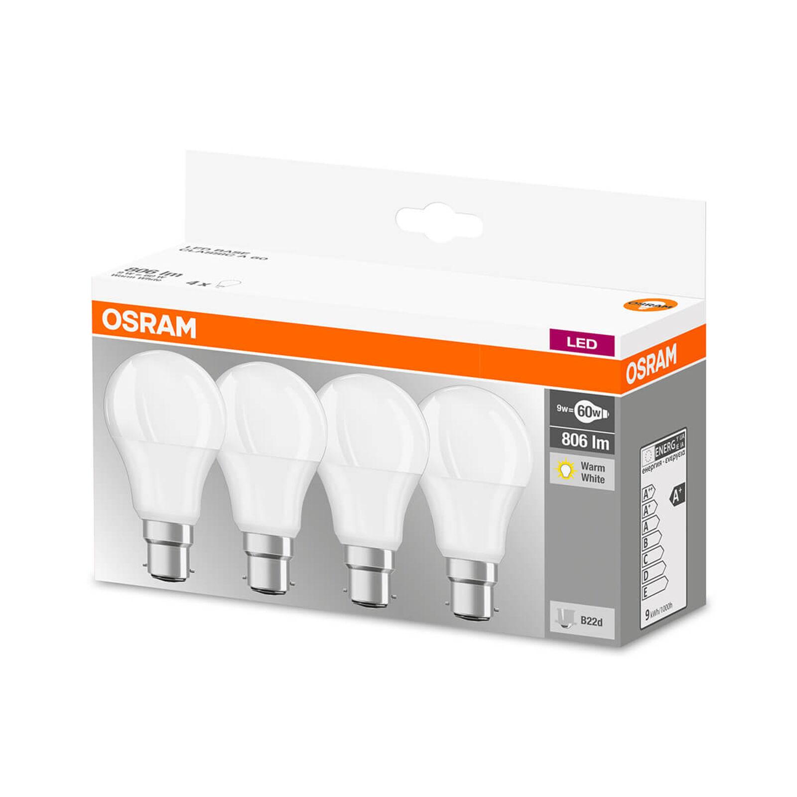 OSRAM LED-lampa B22d 9W, varmvit, 806 lumen, 4-pack