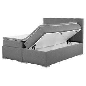 Beliani Kontinentalsäng med förvaring 160 x 200 cm grå LORD