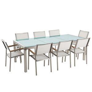 Beliani Trädgårdsmöbelset av bord knäckt glas och 8 stolar vit GROSSETO