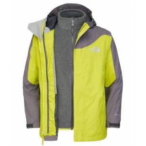The North Face Boys Evolution Triclimate Jacket Venom Yellow Skaljacka Barn Storlek 120
