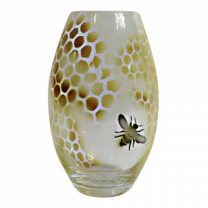 Nybro Crystal Honeycomb Vas 20 cm Gul