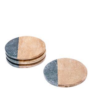 Table Top Stories Rumours Glasunderlägg 4-pack trä/marmor Grön