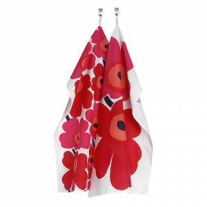 Marimekko Unikko Handduk 47x70 cm 2-pack Röd/Rosa