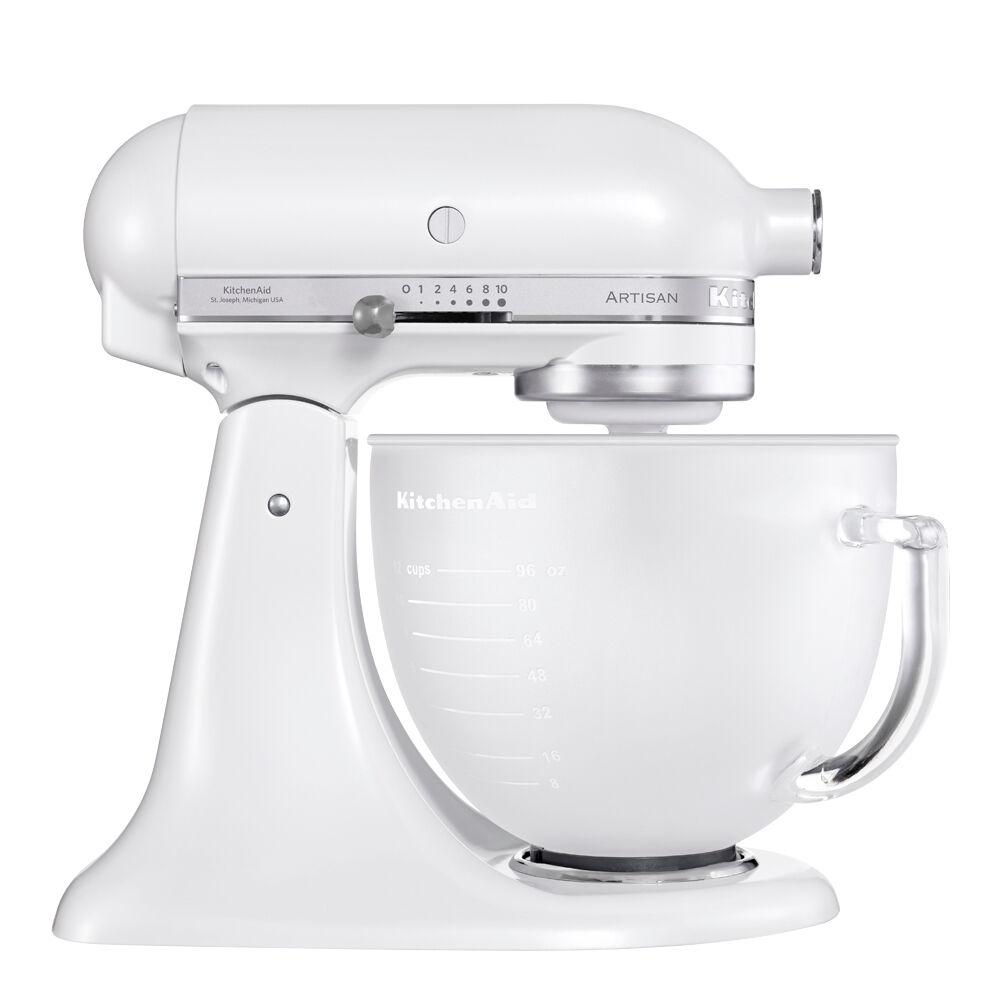 KitchenAid Artisan Köksmaskin 4,8 L glasskål Frost Vit