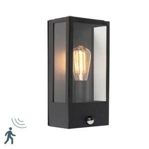 QAZQA Yttervägg ljus svart med rörelsesdetektor IP44 - Rotterdam 1