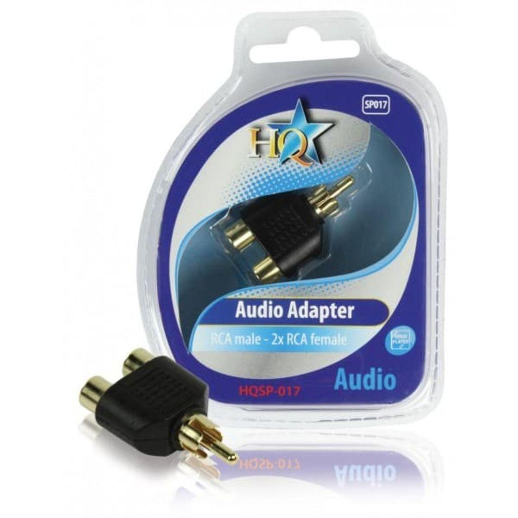 HQ Mono Audio Adapter RCA Male - 2x RCA Female Black