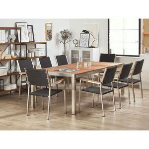 Beliani Trädgårdsmöbelset av bord och 8 rottingstolar eukalyptusträ/svart GROS