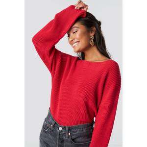 NA-KD Cropped Long Sleeve Knitted Sweater - Red