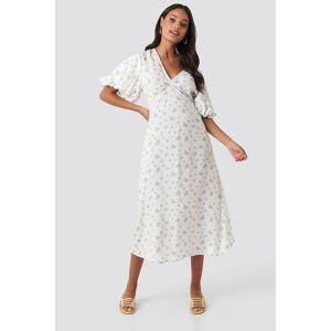 NA-KD Boho Puff Sleeve Floral Midi Dress - White