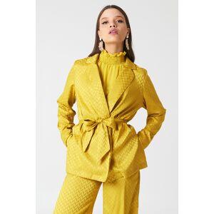 NA-KD Tie Waist Jacquard Blazer - Yellow