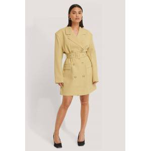 NA-KD Classic Wide Shoulder Belted Blazer Dress - Yellow