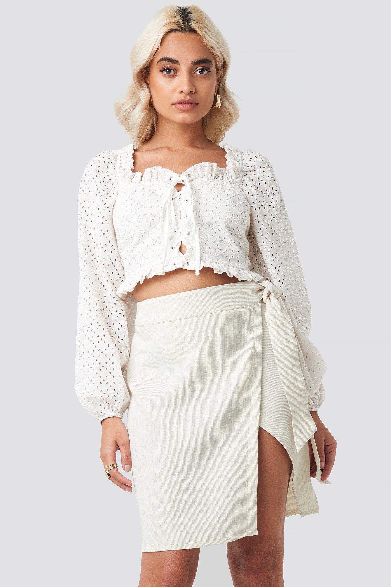 AFJ x NA-KD Belted Wrap Mini Skirt - Beige