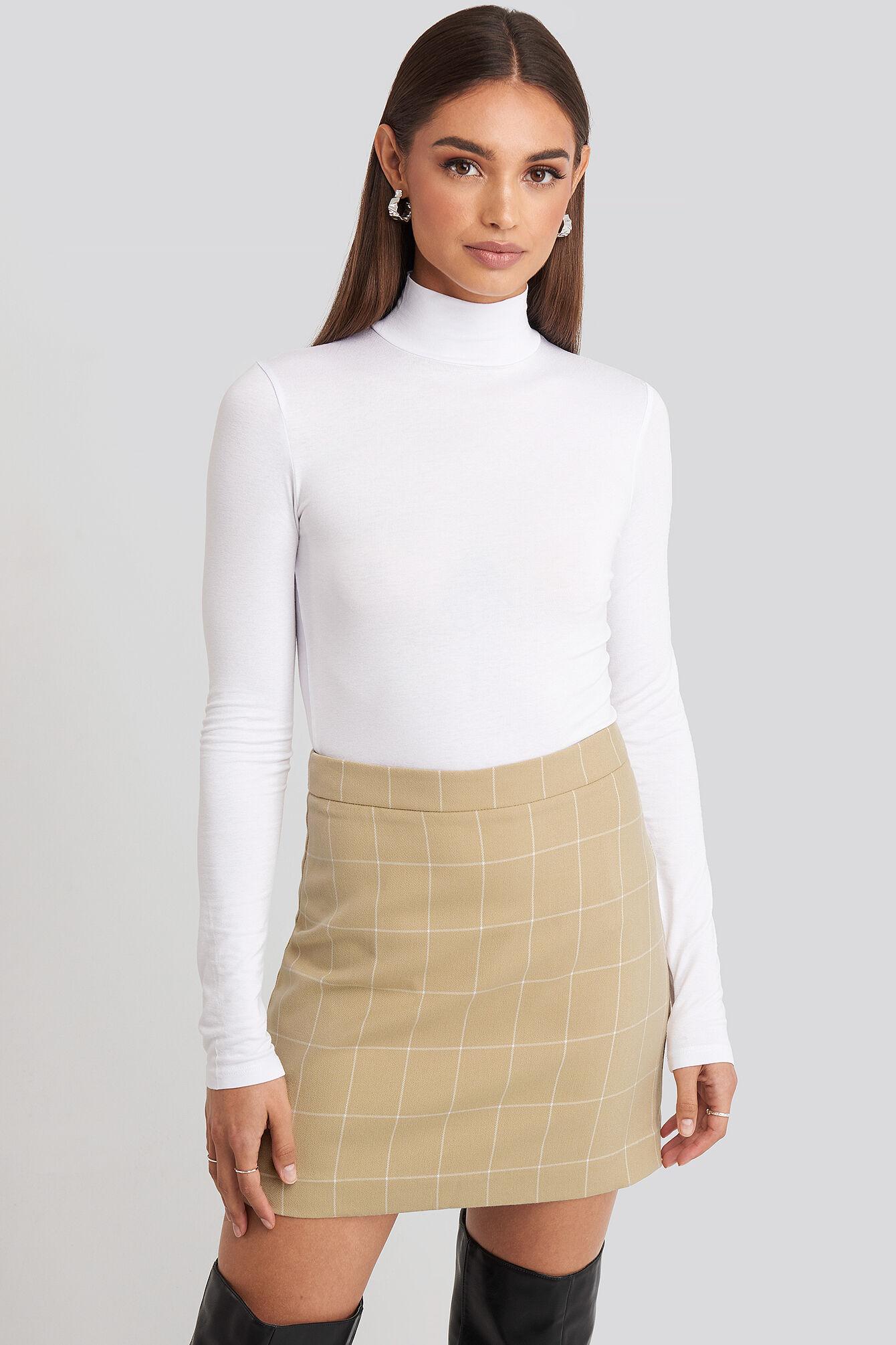 Hoss x NA-KD Checked Mini Skirt - Beige